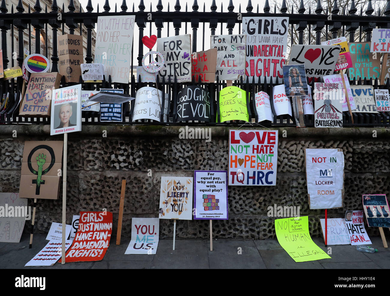 Protest banners are left in Duncannon Street, London