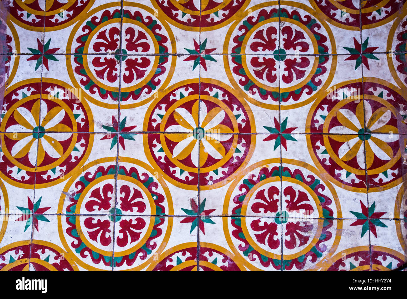 Colorful Vintage Style Floor Tile Pattern Texture And Background
