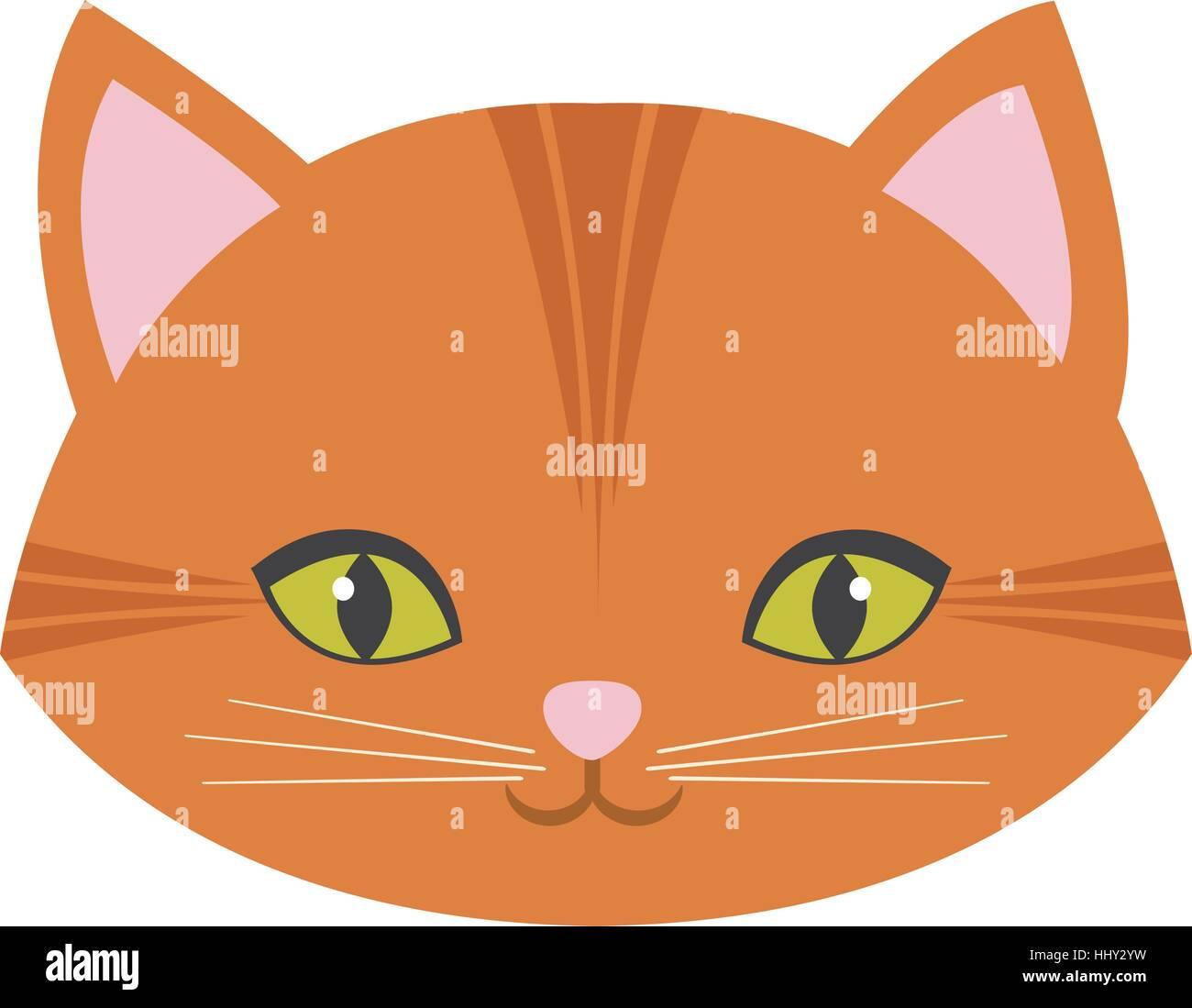 cute cat face pink nose mustache stock vector art illustration