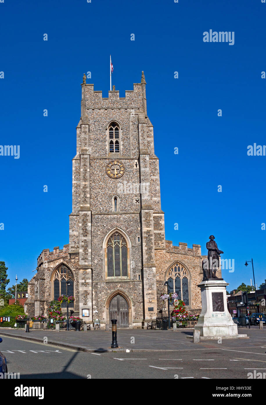 St. Peter's Church in the market square, Sudbury, Suffolk, England. The church is no longer used for worship. - Stock Image