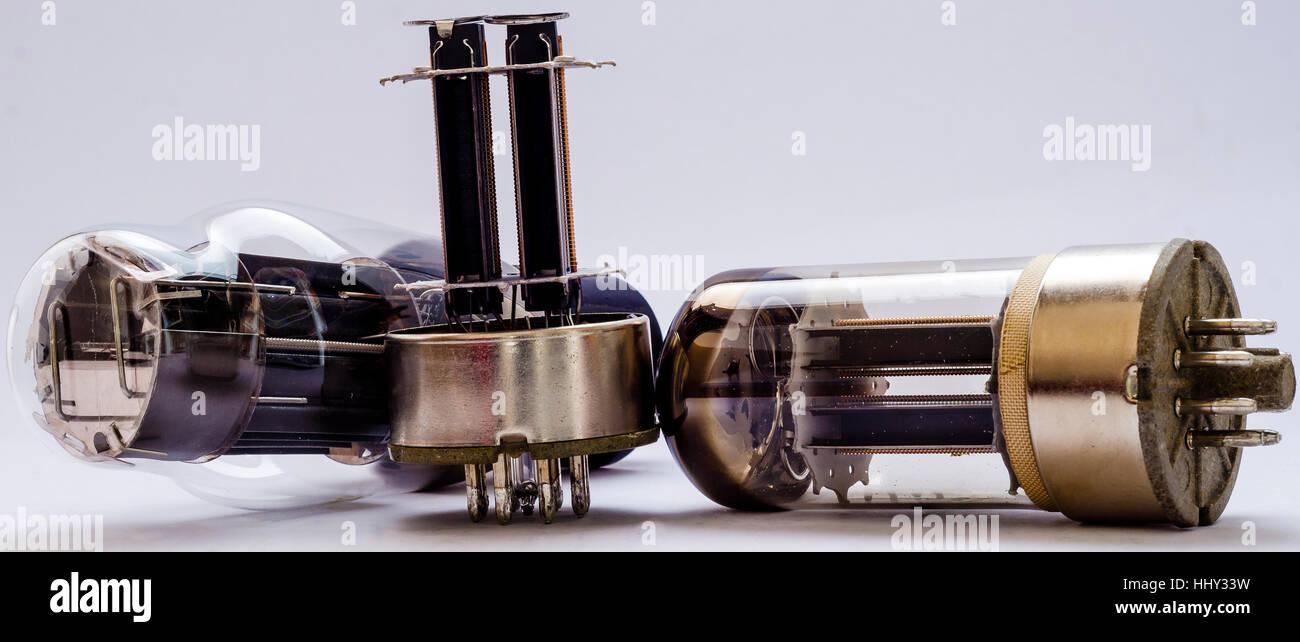 vacuum electronic radio tubes. Isolated image on white background Stock Photo