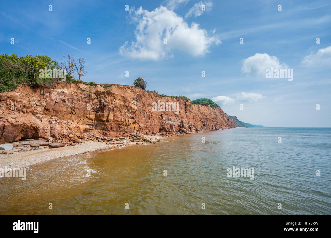 Great Britain, South West England, East Devon, Sidmouth, view of the red-coloured cliff face of Salcombe Hill - Stock Image