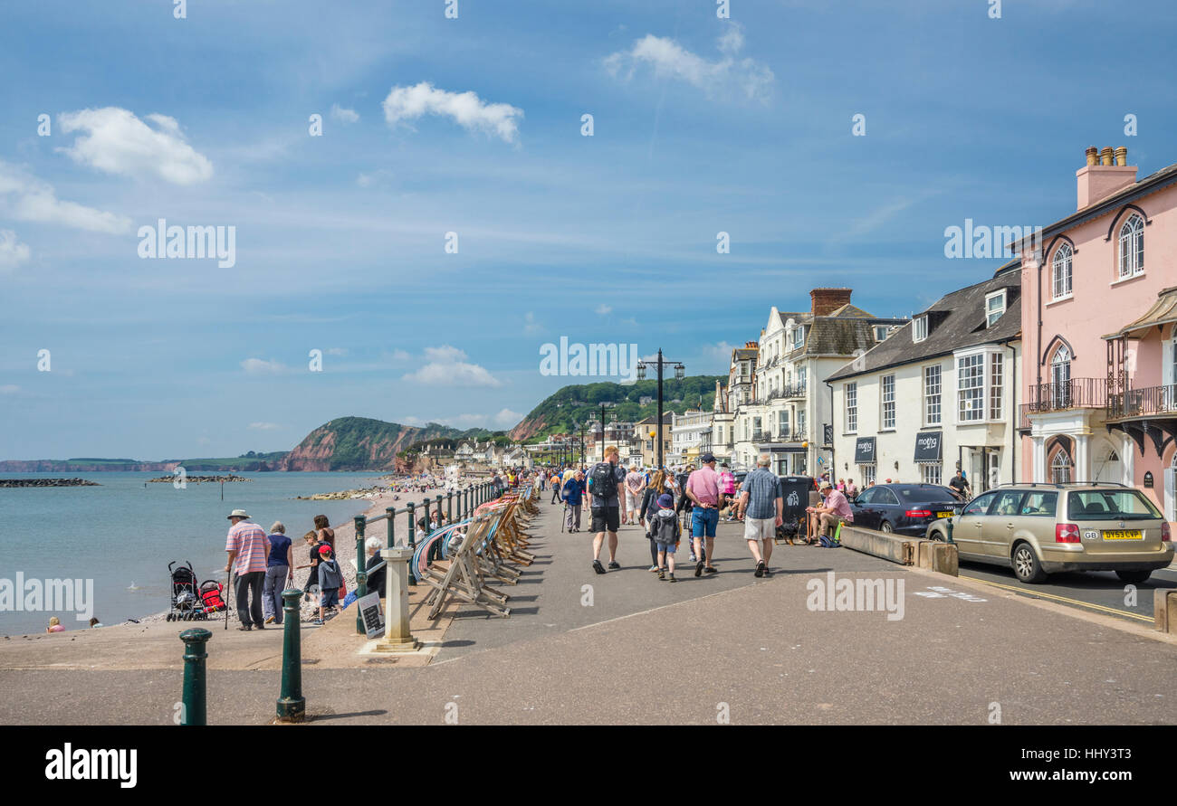 Great Britain, South West England, East Devon, Sidmouth, view of the Esplanade and beach front - Stock Image