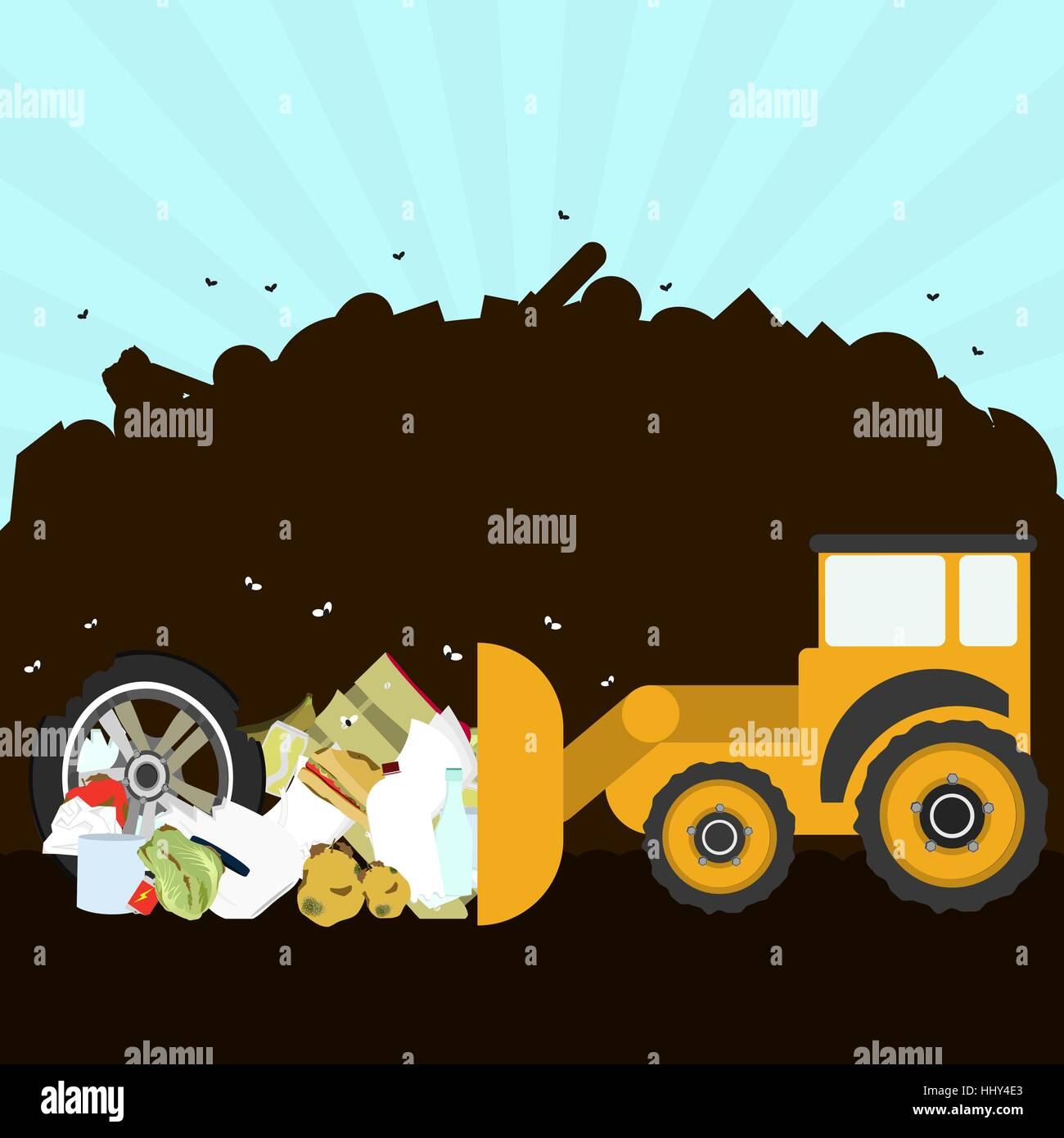 Bulldozer rearranging garbage in landfill. Silhouette of a pile of rubbish in the background. Garbage contains tires, - Stock Vector