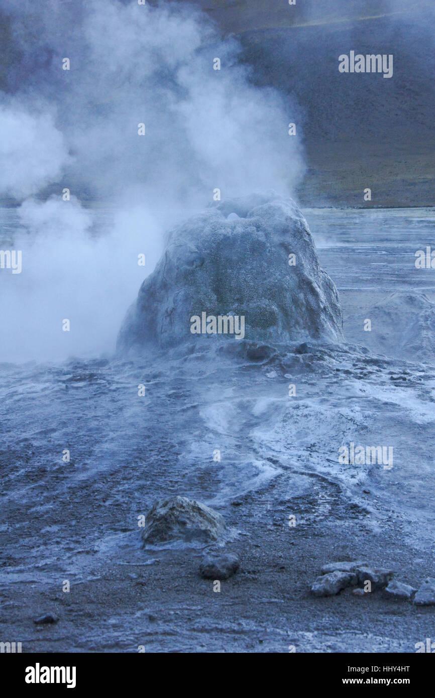 Bubbling, steaming geyser at Geysers del Tatio, Atacama Desert, Norte Grande, Chile - Stock Image