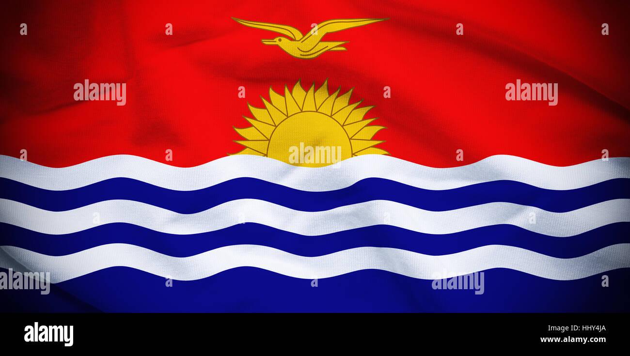 Wavy and rippled national flag of Kiribati background. - Stock Image