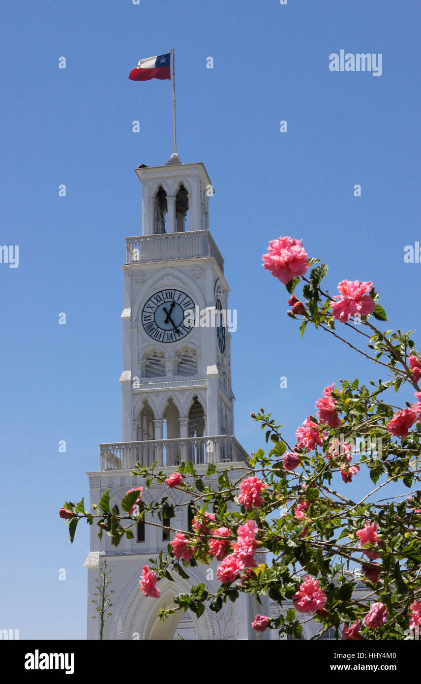 The Torre Reloj (Clock Tower) in Plaza Prat, Iquique, Chile - Stock Image
