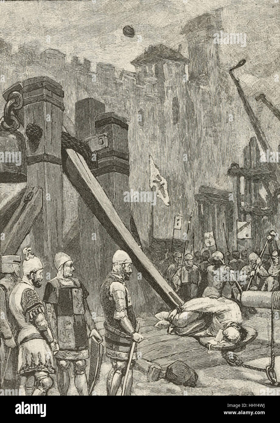 How the French flung a messenger over the walls into Auberoche during the Hundred Years War - Stock Image