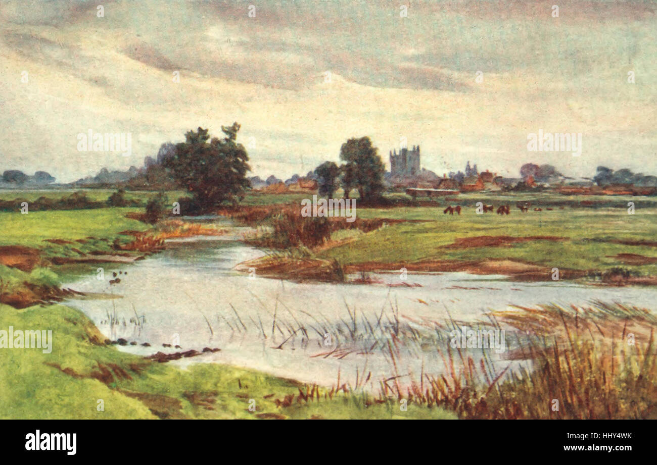 The Stour : Wimborne Minister in the Distance - 'Warborne' of the Essex Novels - Stock Image