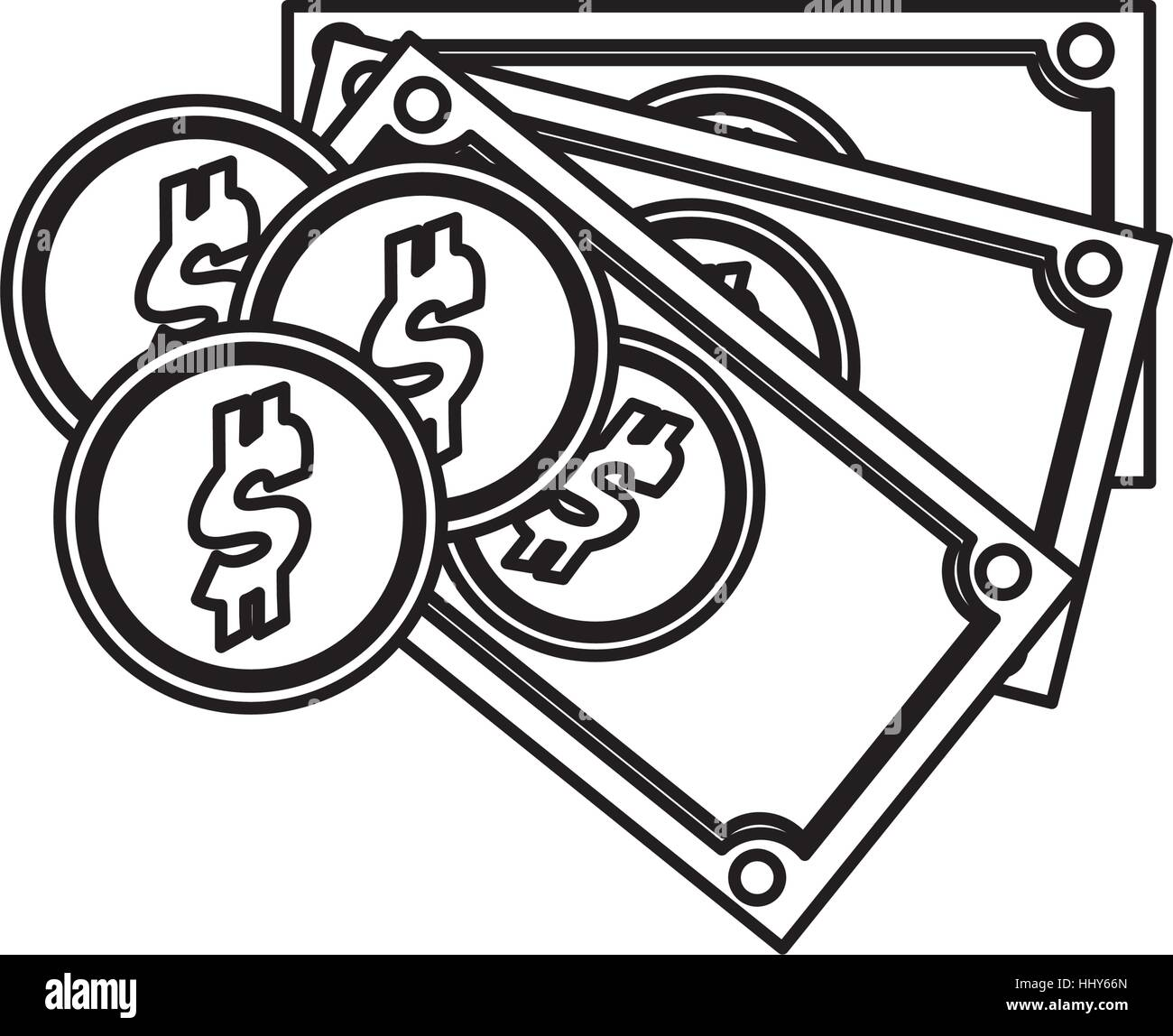 silhouette set multiple bills with coin vector illustration Stock Vector