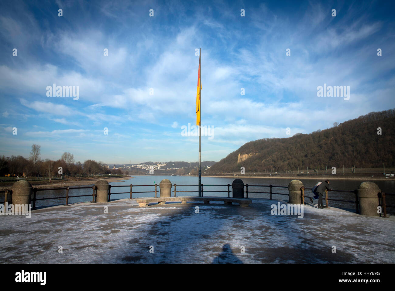 The Deutsches Eck (German Corner) where the rivers Rhein and Mosel meet in Koblenz, Germany. - Stock Image
