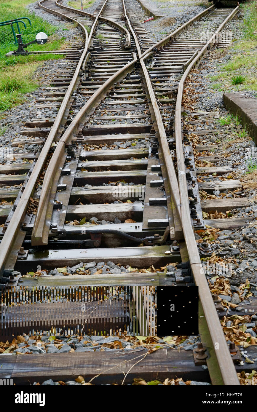 view of two rail switches - Stock Image