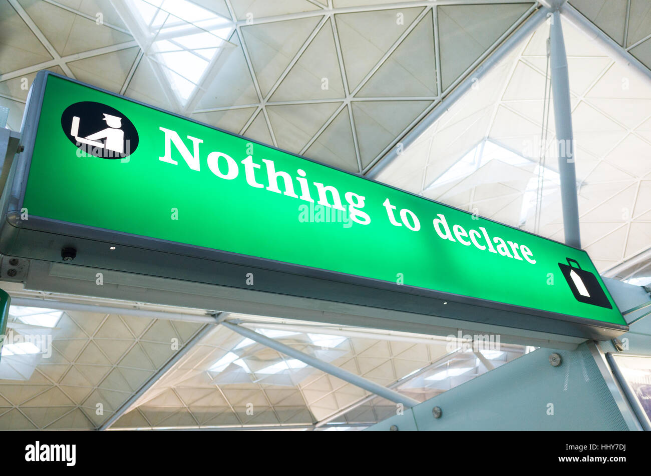 Nothing to declare customs channel at Stansted Airport, England, UK - Stock Image