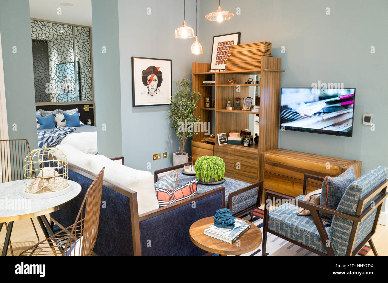 Apartment showroom living room in the marketing suite of a new property development, England, UK - Stock Image