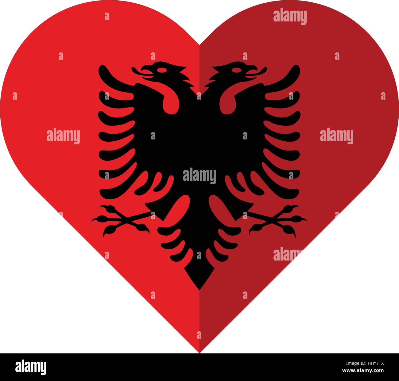 Vector image of the Albania flat heart flag - Stock Image