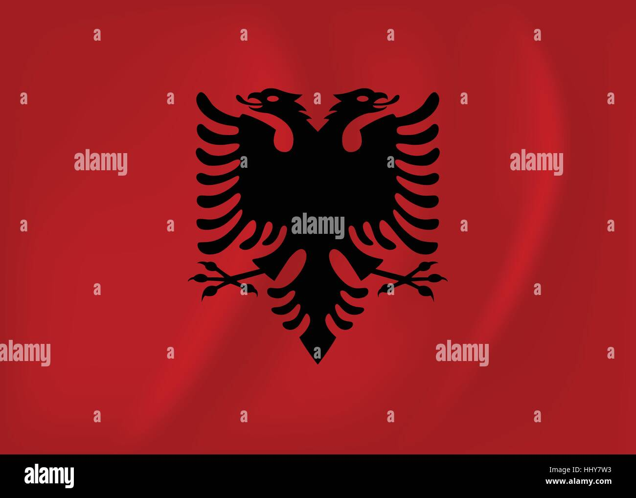 Vector image of the Albania waving flag - Stock Image