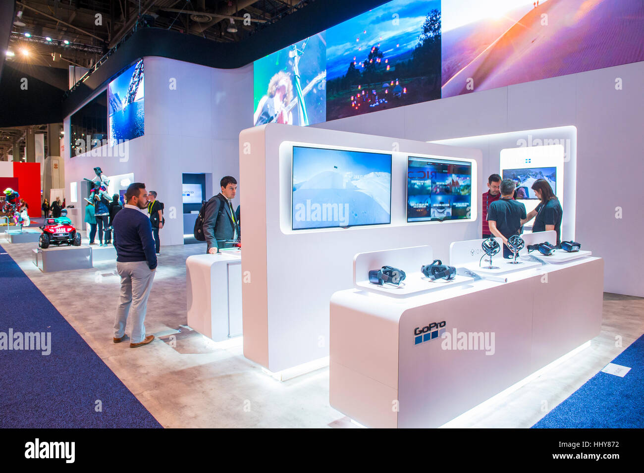 LAS VEGAS - JAN 08 : The GoPro booth at the CES show held in Las Vegas on January 08 2016 , CES is the world's leading Stock Photo