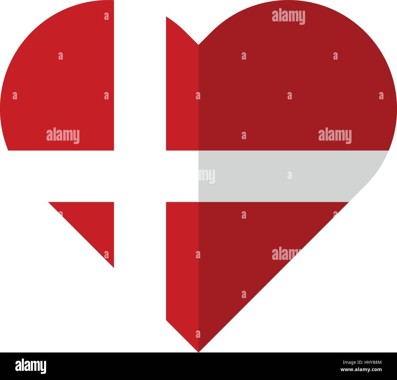 Vector image of the Denmark flat heart flag - Stock Image