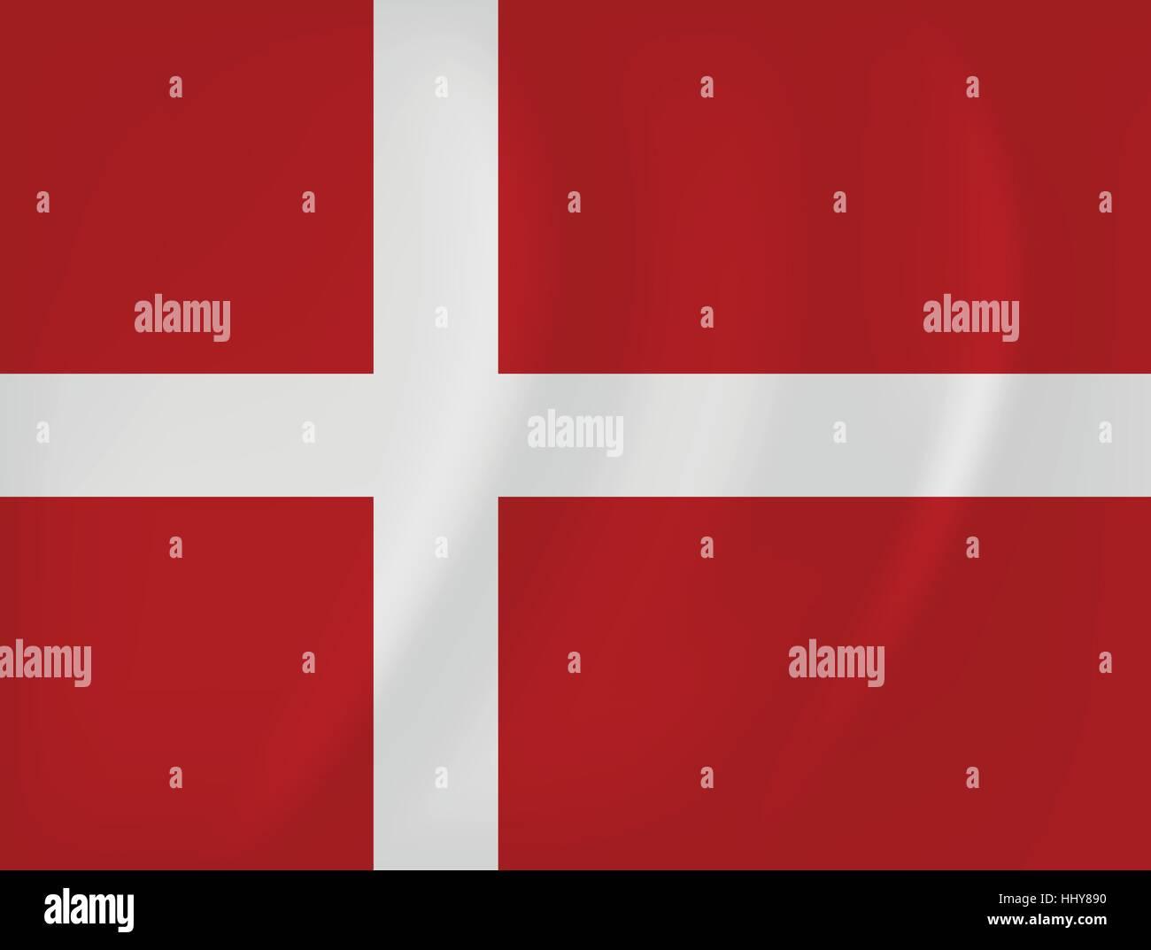 Vector image of the Denmark waving flag - Stock Vector