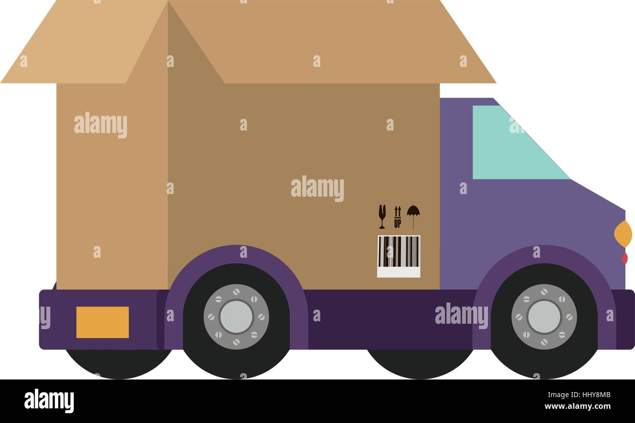 transport truck with vagon of packing box vector illustration - Stock Vector