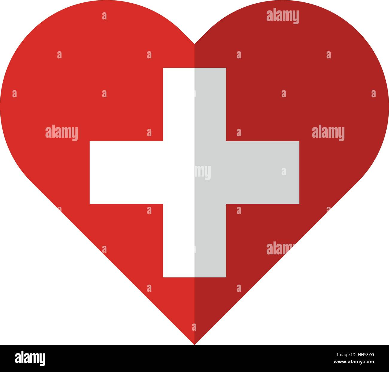 Vector image of the Switzerland flat heart flag - Stock Vector