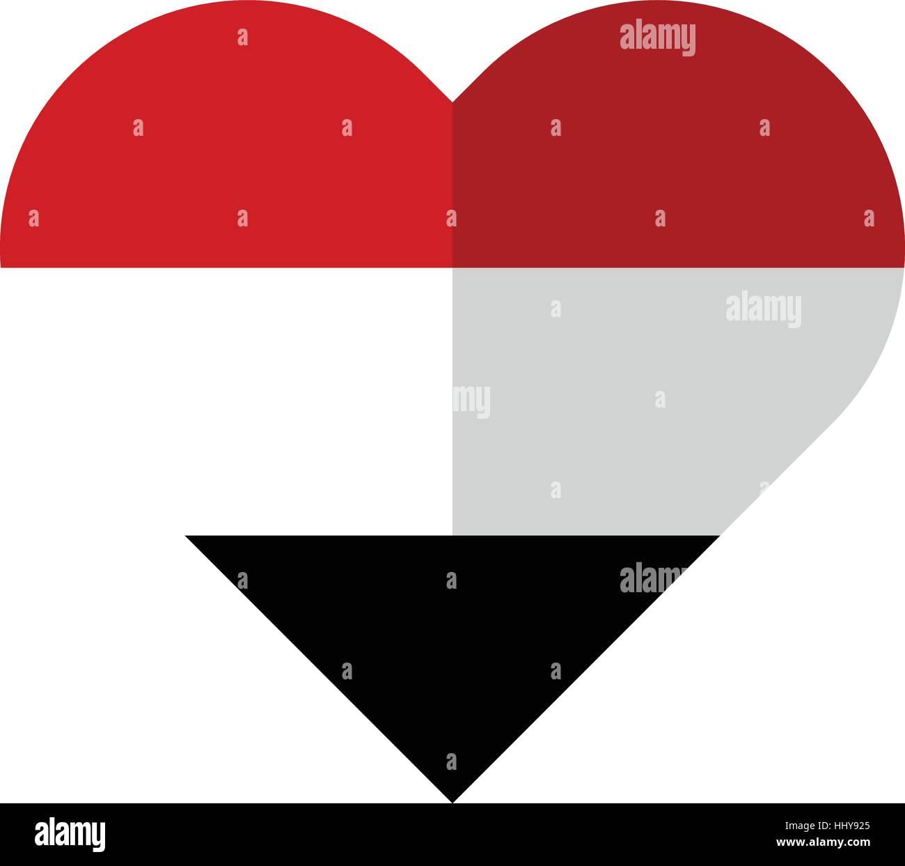 Vector image of the Yemen flat heart flag - Stock Vector