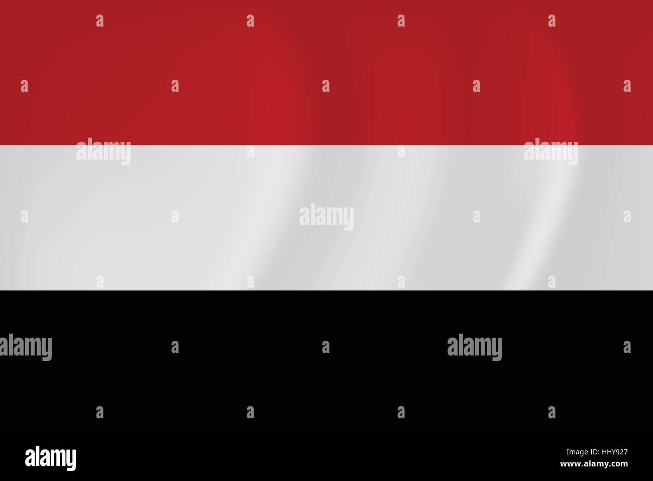 Vector image of the Yemen waving flag - Stock Vector