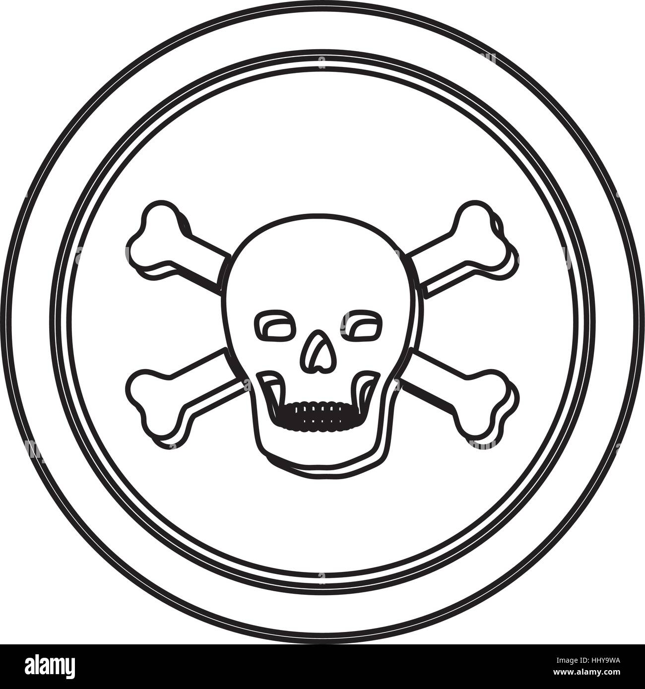 monochrome contour in circle with skull and bones vector illustration - Stock Vector