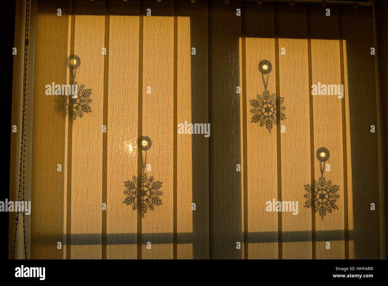 Vertical Blinds At A Window With Christmas Decorations Stock Photo Alamy