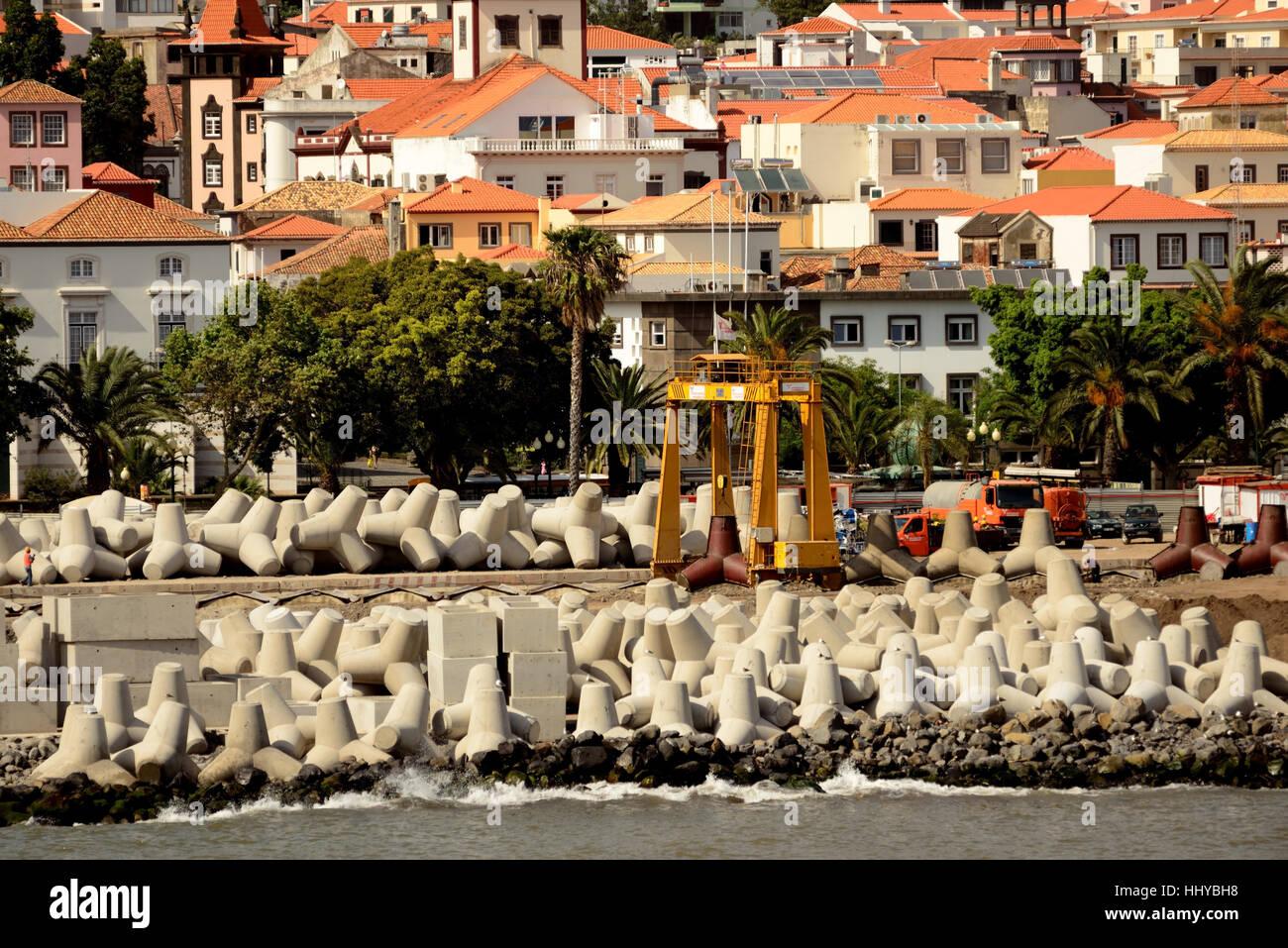 Concrete sea defences (tetrapods). Stock Photo