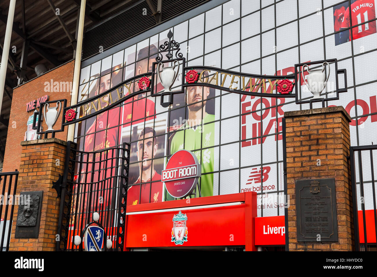 Close-up of the Paisley Gates in front of The Kop Stand at Liverpool Football Club. - Stock Image