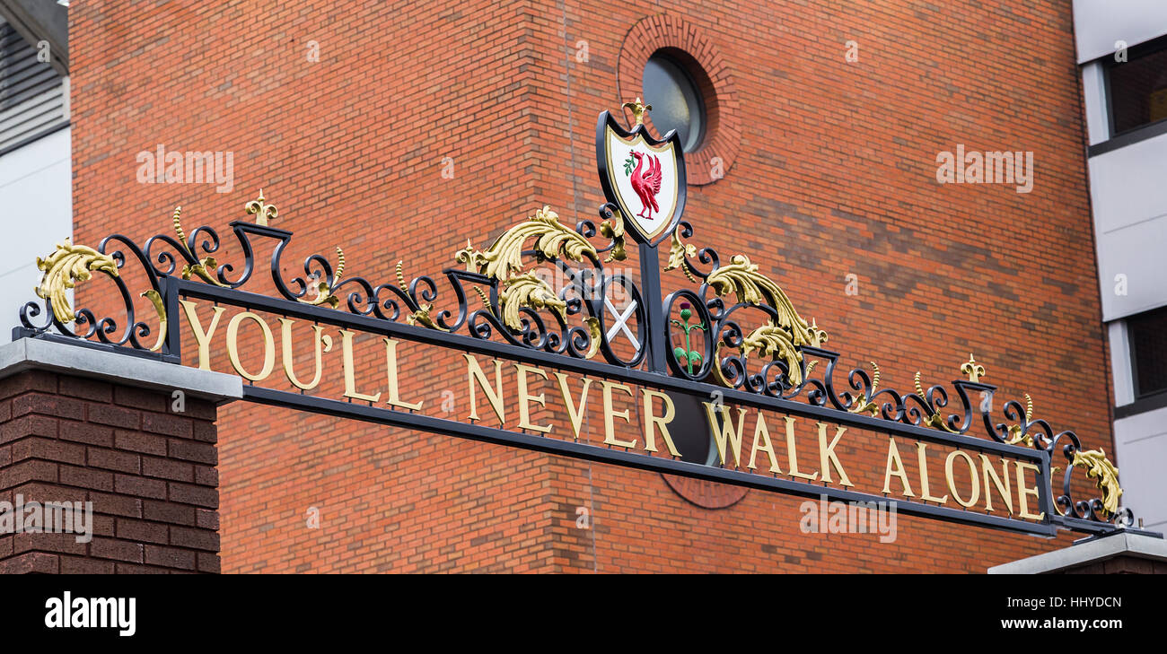 The title of Liverpool FC's club anthem seen on top of the Shankly Gates between the Centenary Stand & the - Stock Image