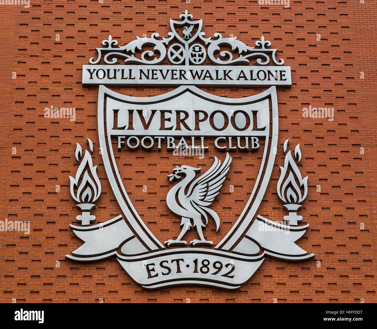 One of the two giant silver crests of Liverpool FC pictured on the new main  stand d4ac87905f5a