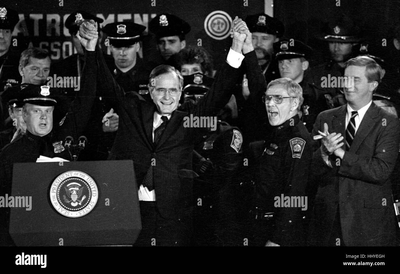 President George H. Bush Flanked by Boston Police Union members celebrates as  the union endorses him for President, Stock Photo