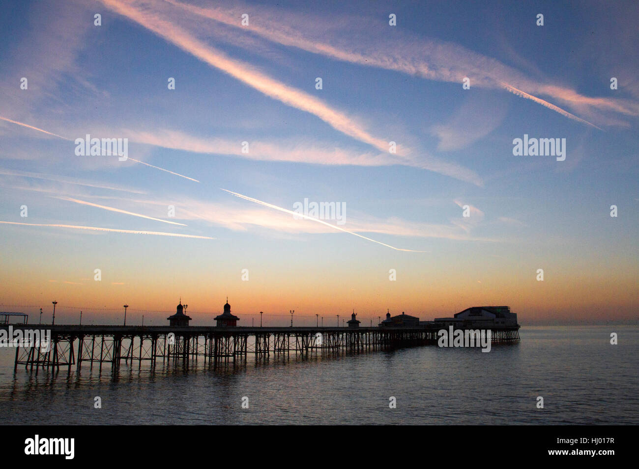 Blackpool's North Pier; a Victorian structure and seaside evening coastal  landmark, Lancashire, UK - Stock Image