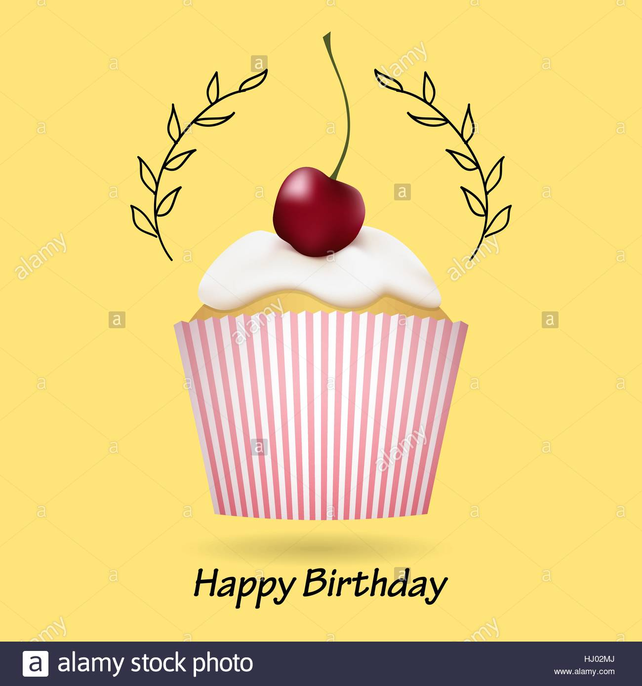 Happy Birthday Greeting Card With Cute Cupcake And Cherry Stock