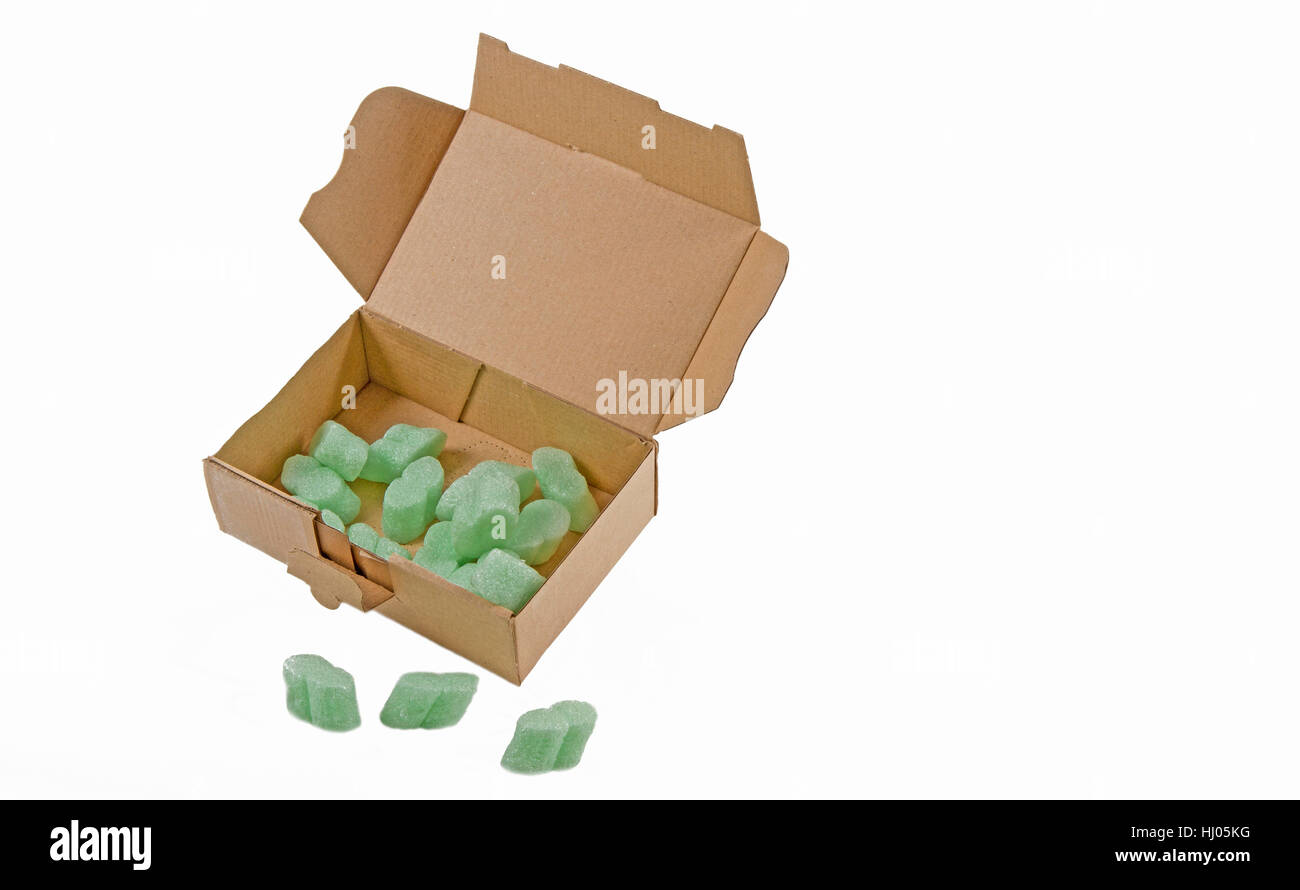 cardboard box with packing chips Stock Photo