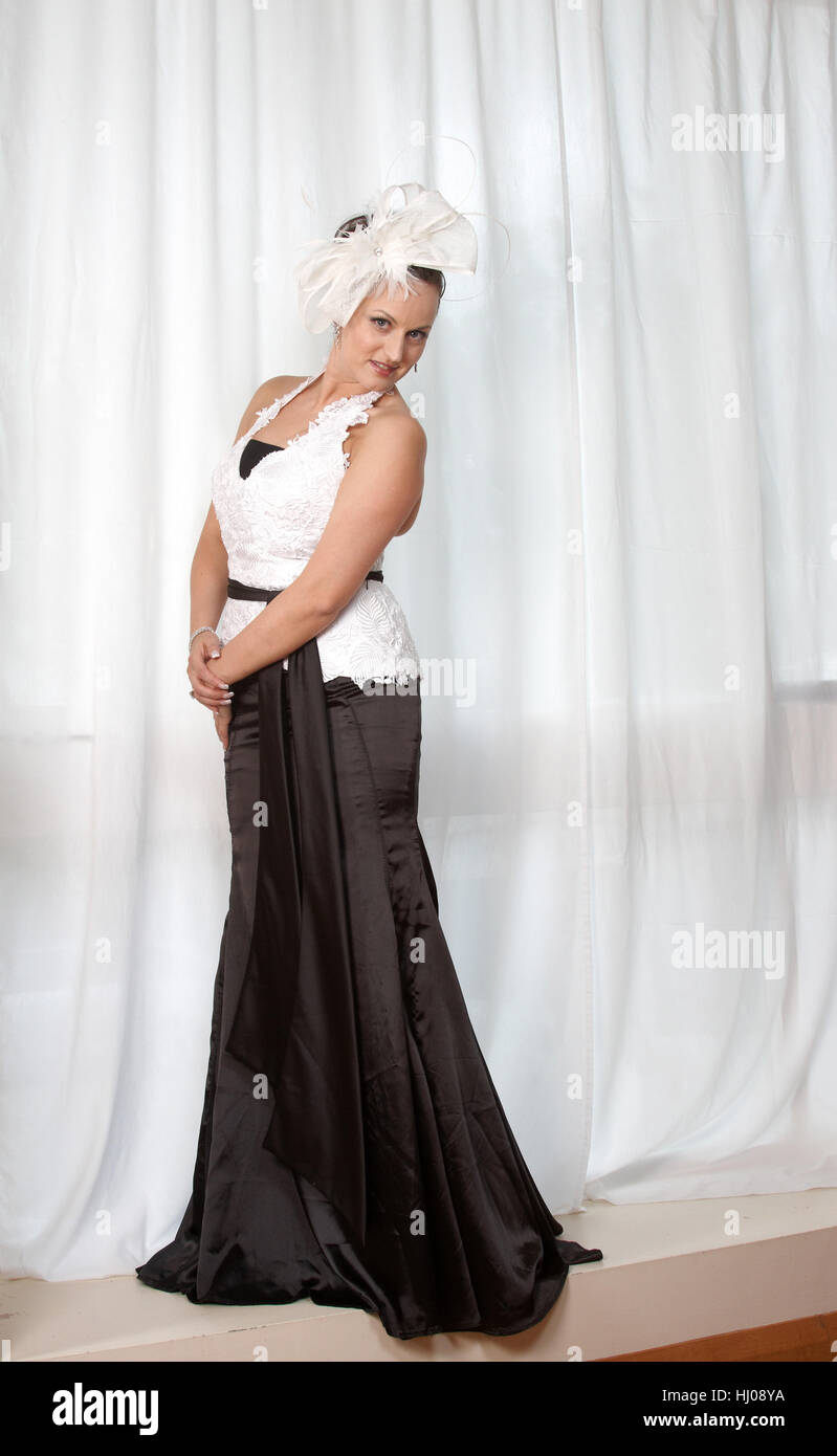 female, elegant, dress, dapper, accosting, pretty, prettily, prettier, - Stock Image