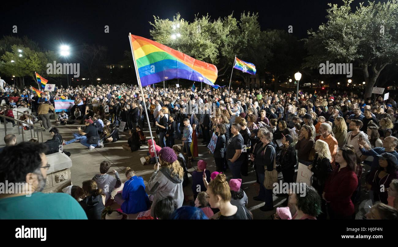 Austin, USA. 21st Jan, 2017. Austin, Texas USA Jan. 20, 2017: Thousands of LGBTQ Texans rally at the Texas Capitol - Stock Image