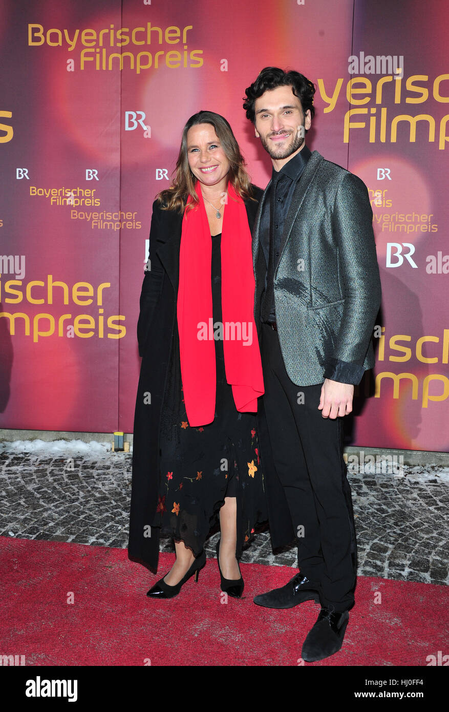 Munich, Germany. 20th Jan, 2017. Actress Marie Theres Kroetz-Relin and her escort, actor Vladimir Korneev, arrive - Stock Image