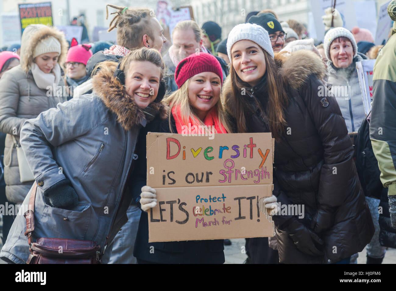 Vienna Austria 21st Jan 2017 A Group Of Girls Holding