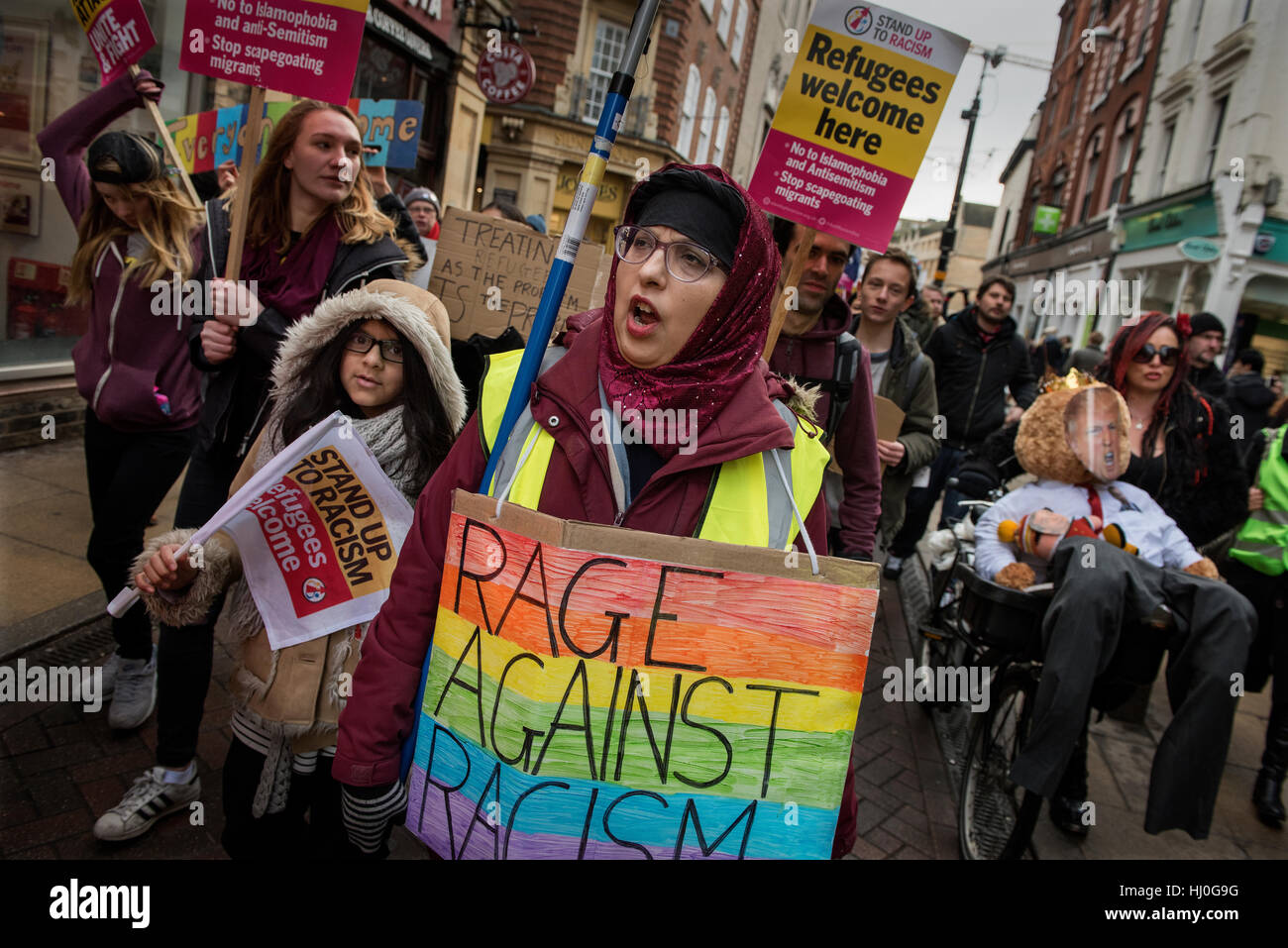 Cambridge, UK. 21st January, 2017. Demonstration in Cambridge, England, UK against the policies of newly installed - Stock Image
