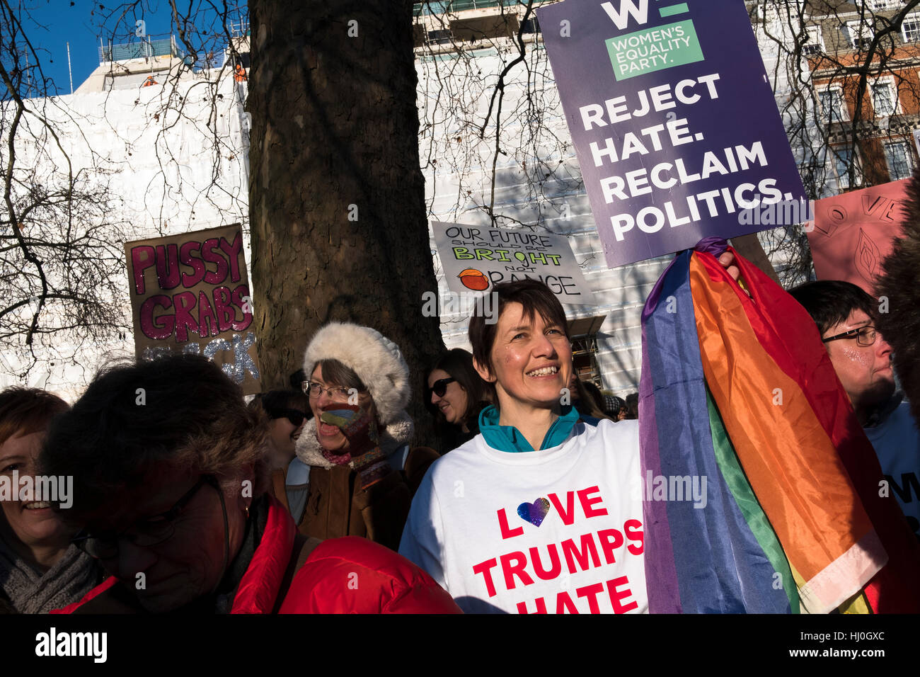 London, UK. 21st Jan, 2017. An estimated 100,000 people protested against the election of Donald Trump. The Womens' - Stock Image