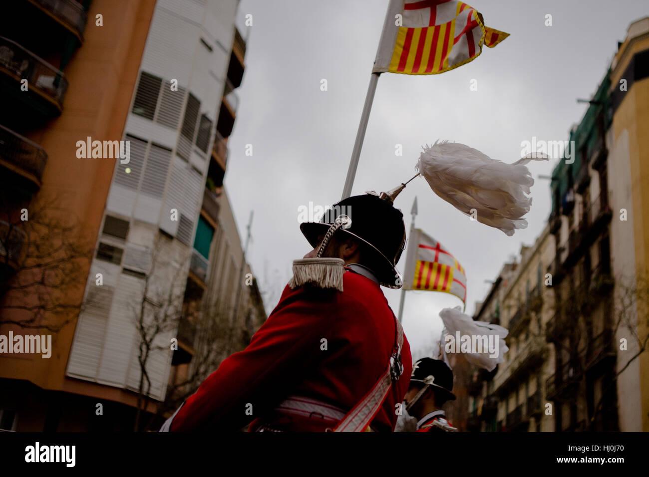 Barcelona, Spain. 21st Jan, 2017. January 21, 2017 - Barcelona, Catalonia, Spain - Members of the Barcelona municipal Stock Photo