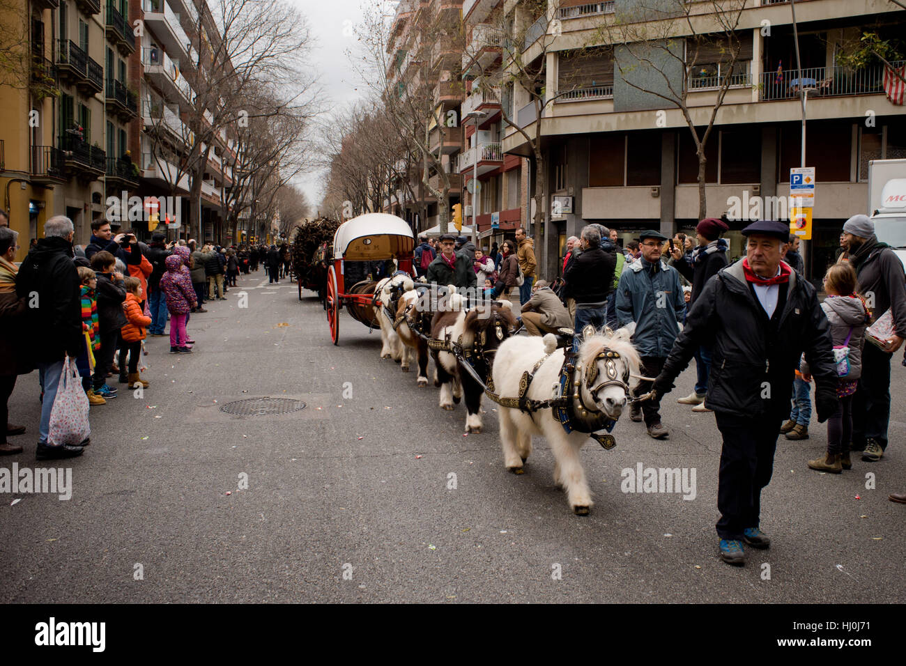 Barcelona, Spain. 21st Jan, 2017. January 21, 2017 - Barcelona, Catalonia, Spain - A carriage pulled by ponies goes Stock Photo