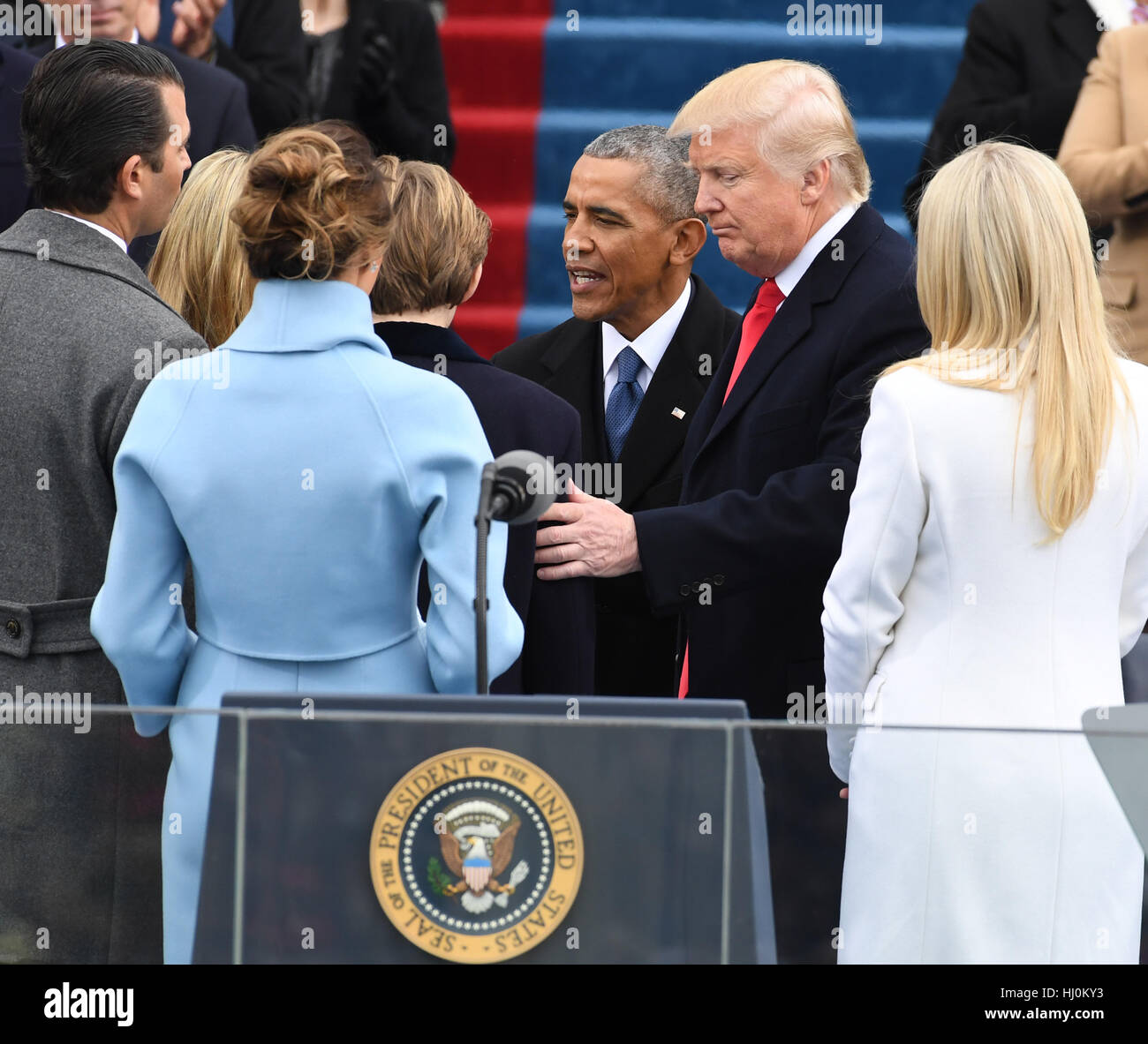 Former president barack obama greets president donald j trump and former president barack obama greets president donald j trump and family after the oath of office at trumps inauguration on january 20 2017 in washington m4hsunfo