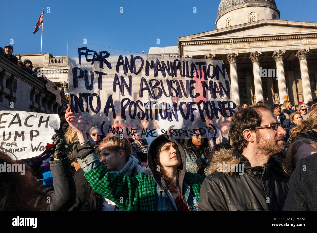 London, United Kingdom, 21st January 2017: Following Donald Trump's inauguration on 20th January, 100,000 protesters - Stock Image