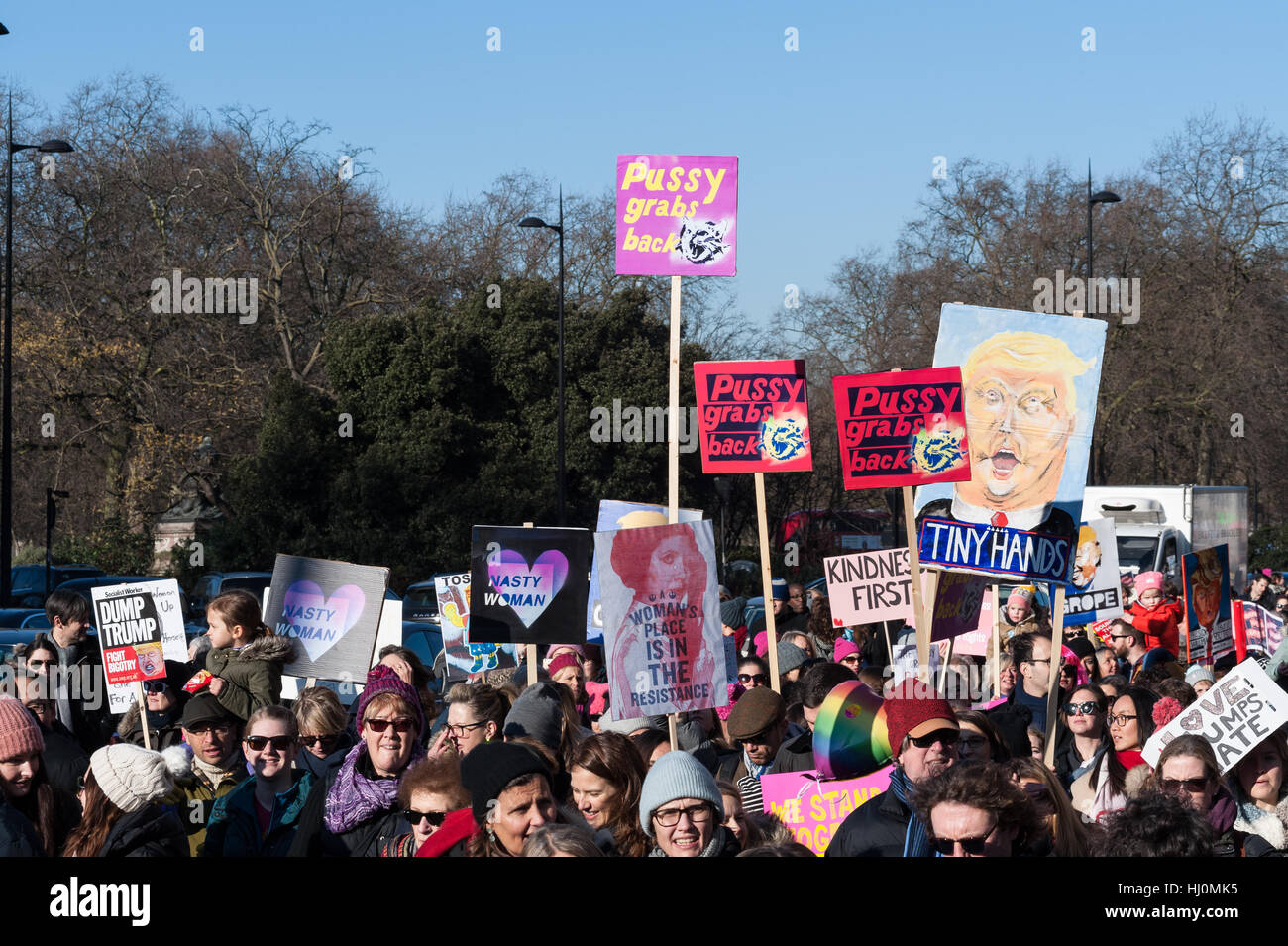 London, UK. 21st January 2017. Around 100,000 people attended 'Women's March on London' as part of a - Stock Image