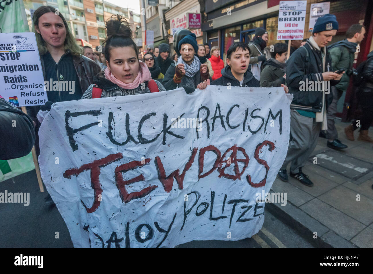London, UK. 21st January, 2017.  Radical Jewish diaspora group Jewdas banner on the Movement for Justice march up - Stock Image