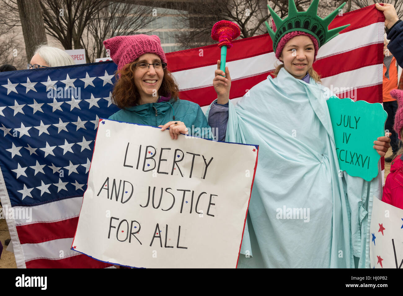 Washington, USA. 21st Jan, 2017.Demonstrators rally during the Women's March on Washington in protest to President - Stock Image